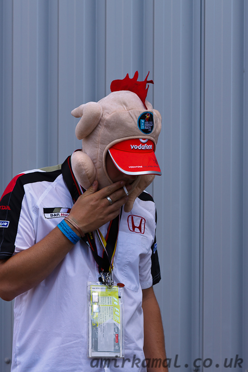 Chickenman having a quick fag before the race