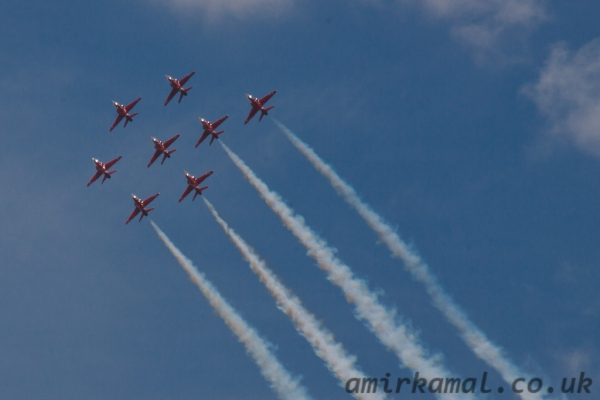 Red Arrows over Goodwood