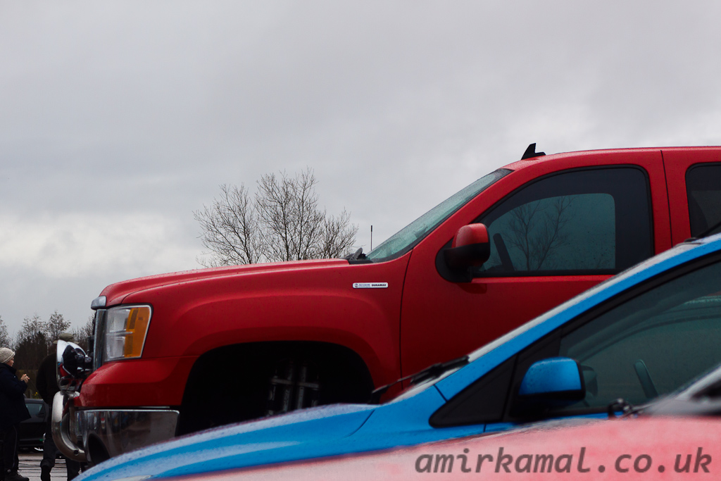 Comically large pickup towering above everything else