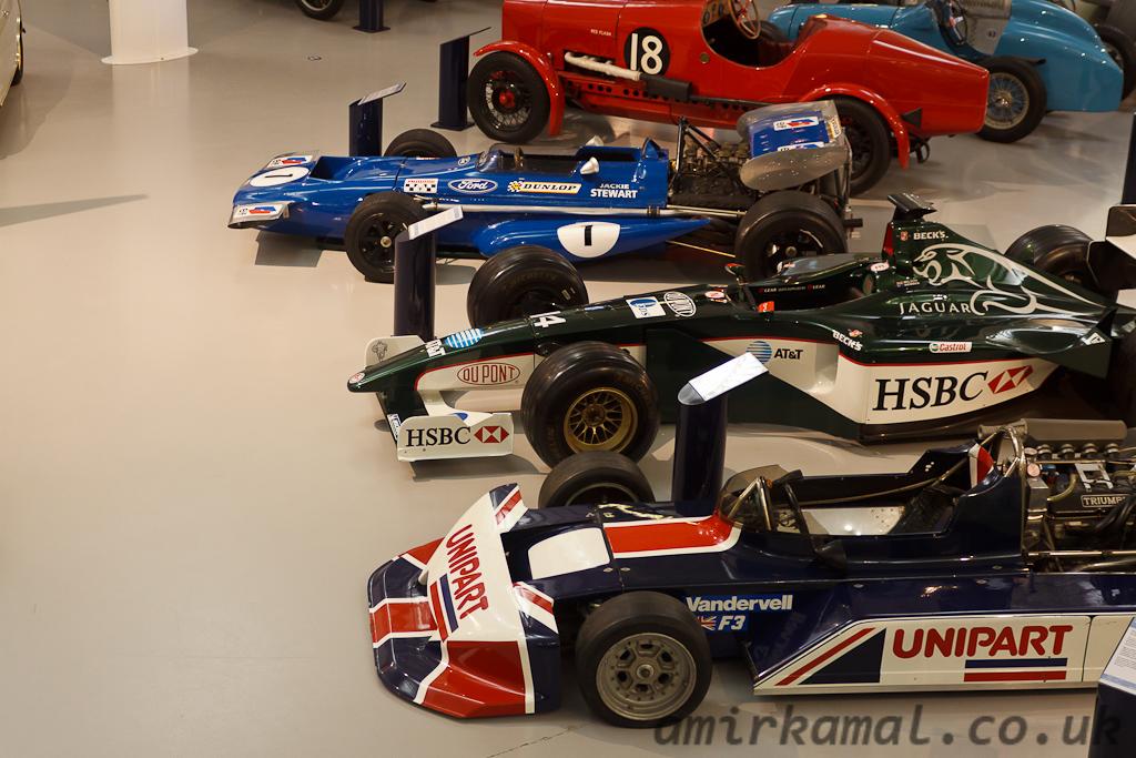 British single seaters, (r-f): Tyrell 701, Jaguar R1 (2001), March-Triumph F3 1978
