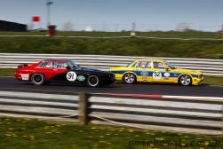 Gail Hill(52) leads, Patrick Doyle (Jaguar Classic Parts Jaguar Saloon/ JEC Jaguar XJS Championship)